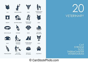 Set of BLUE HAMSTER Library veterinary icons