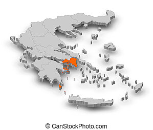 Map - Greece, Attica - 3D-Illustration - Map of Greece as a...