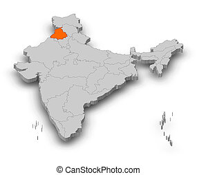 Map - India, Punjab - 3D-Illustration - Map of India as a...