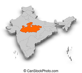 Map - India, Madhya Pradesh - 3D-Illustration - Map of India...