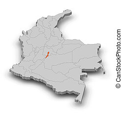 Map - Colombia, Bogota - 3D-Illustration - Map of Colombia...