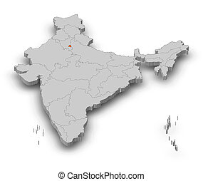 Map - India, National Capital Region - 3D-Illustration - Map...