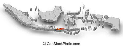 Map - Indonesia, West Nusa Tenggara - 3D-Illustration - Map...
