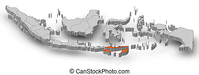 Map - Indonesia, East Nusa Tenggara - 3D-Illustration - Map...