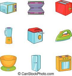 Technique icons set, cartoon style - Technique icons set....