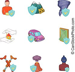 Incident icons set, cartoon style - Incident icons set....