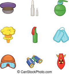 Weaponry icons set, cartoon style - Weaponry icons set....