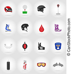 sport game equipment flat icons illustration isolated on...