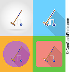 set equipment for croquet flat icons illustration
