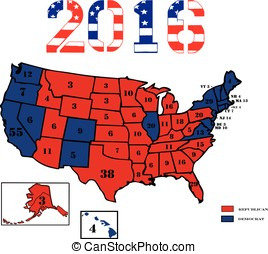 Electoral Maps 2016 - 50 United States colored in Republican...