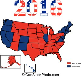 Presidential Maps 2016 Colored - 50 United States colored in...