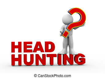 3d man on headhunting - 3d rendering of man standing on head...