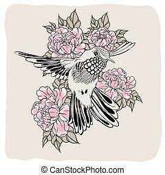 Hand drawn flying humming bird with peony flower. Vector illustration in line art style. T-shirt or tattoo design