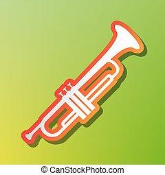 Musical instrument Trumpet sign. Contrast icon with reddish...