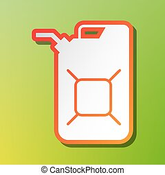 Jerrycan oil sign. Jerry can oil sign. Contrast icon with...