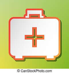 Medical First aid box sign. Contrast icon with reddish stroke on green backgound.