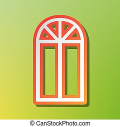 Window simple sign. Contrast icon with reddish stroke on green backgound.