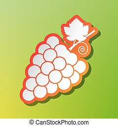 Grapes sign illustration. Contrast icon with reddish stroke on green backgound.