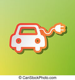 Eco electric car sign. Contrast icon with reddish stroke on...