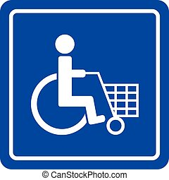 Disabled shoping sign - Disabled shoping blue sign icon...
