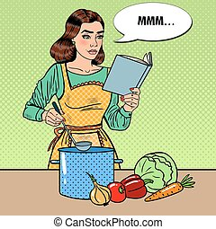 Pop Art Housewife Cooking Soup in the Kitchen - Pop Art...