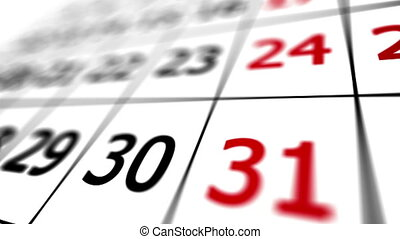 """""""Close up of calendar with date of 31"""" - """"Close up of..."""