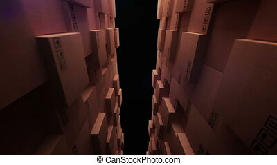 """Cardboard boxes in a store warehouse"" - ""3d rendering of..."