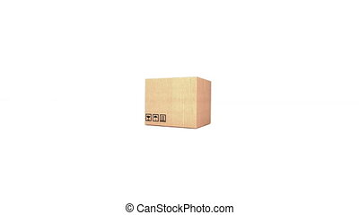 """Cardboard box isolated on white background"" - ""3d Cardboard..."