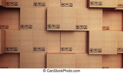 """Cardboard boxes with horizon movement"" - ""3d stack of..."