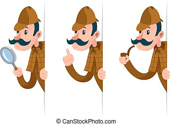 Detective with magnifying glass peeking out of the corner cartoon design vector illustration