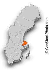 Map - Sweden, Uppsala County - 3D-Illustration - Map of...