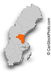 Map - Sweden, Gaevleborg County - 3D-Illustration - Map of...
