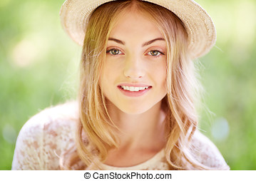 Innocent beauty in summer - Portrait of cute and beautiful...