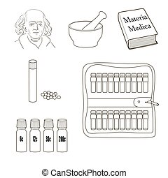 Homeopathy. Set of vector icons. Homeopathic pills, storage...