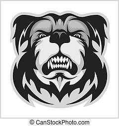 Bulldog Mascot Cartoon Face - black and white vector...