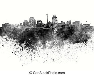San Antonio skyline in black watercolor on white background