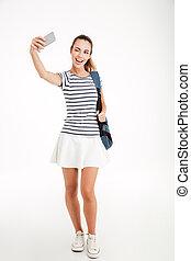 mujer, foto, selfie, smartphone, Estudiante, Elaboración,...