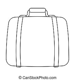 Luggage icon in outline style isolated on white background. Hotel symbol stock vector illustration.