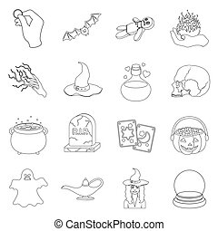 Black and white magic set icons in outline style. Big...