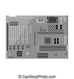Motherboard icon in monochrome style isolated on white...