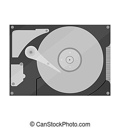Hard disk icon in monochrome style isolated on white...
