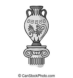Amphora icon in monochrome style isolated on white...