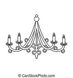Chandelier icon in outline style isolated on white...