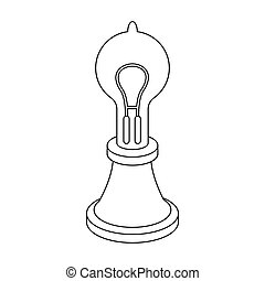 Edison's lamp icon in outline style isolated on white...