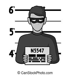 Prisoner's photography icon in monochrome style isolated on...