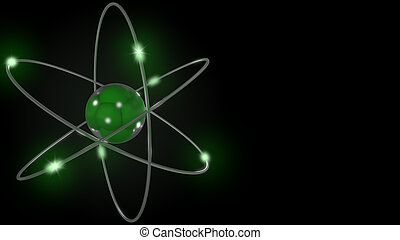 Green stylized atom and electron orbits. 3D rendering -...