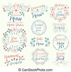 Best Choice Main Dishes.Natural Products.Restaurant Menu.Kids.Food And Drinks.Premium Quality.Beverages Good Vine.Breakfast Lunch Dinner.Insignias logotypes, badges, stickers, stamps, icons, frames, card design set. Doodle vector vintage elements.