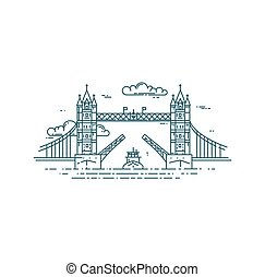 Tower Bridge in London raised. Modern flat line vector...