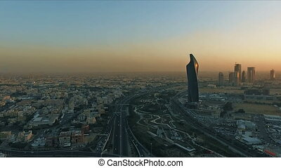Kuwait skyline at sunset. Some famous places in Kuwait...