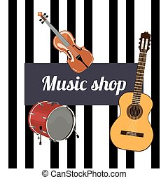 Music shop Sign. Musical instruments and black keys on the...